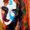 Frau, Figurativ, Gesicht, Farben