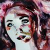 Gesicht, Frau, Blick, Aquarellmalerei