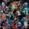 Menschen, Farben, Mixed media, Gesicht
