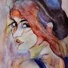 Blick, Aquarellmalerei, Ausdruck, Menschen