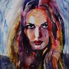 Aquarellmalerei, Gesicht, Blick, Farben