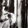 Frau, Aquarellmalerei, Monochrom, Schwarz
