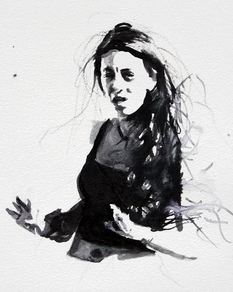 Monochrom, Ausdruck, Aquarellmalerei, Frau, Aquarell