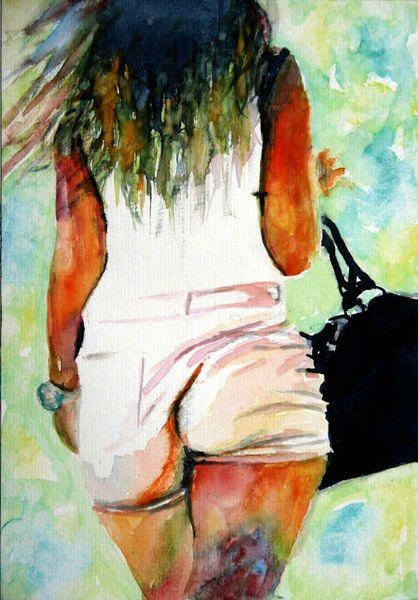 Aquarellmalerei, Frau, Haare, Tasche, Aquarell