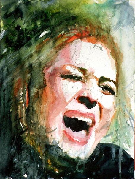Angst, Portrait, Verzweiflung, Schrei, Aquarellmalerei, Wut