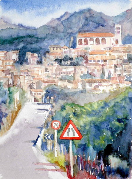 Straße, Spanien, Kirche, Dorf, Aquarellmalerei, Berge