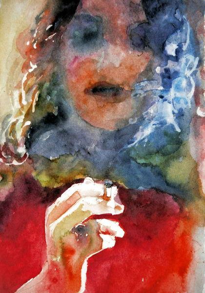 Frau, Zigarette, Licht, Rauch, Aquarellmalerei, Aquarell