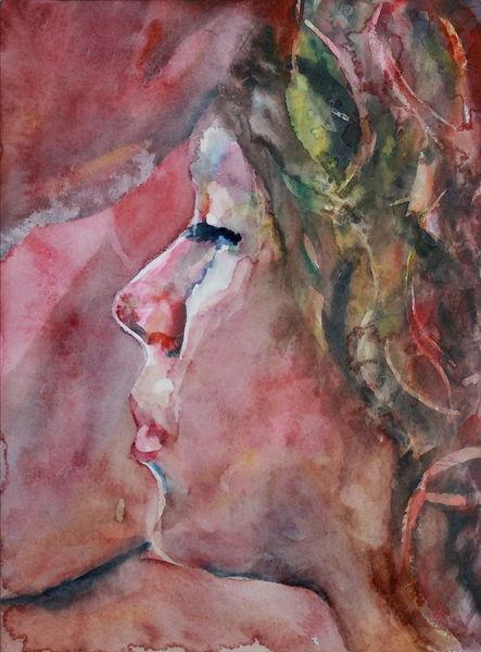 Aquarellmalerei, Profil, Menschen, Rot, Frau, Aquarell