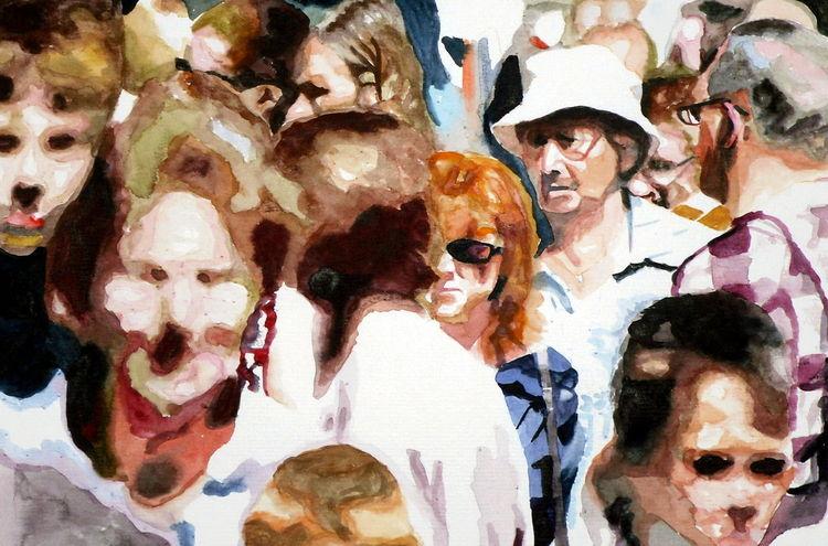 Gesicht, Menge, Menschen, Aquarellmalerei, Aquarell