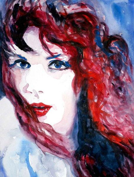 Haare, Portrait, Ausdruck, Rot, Aquarellmalerei, Augen