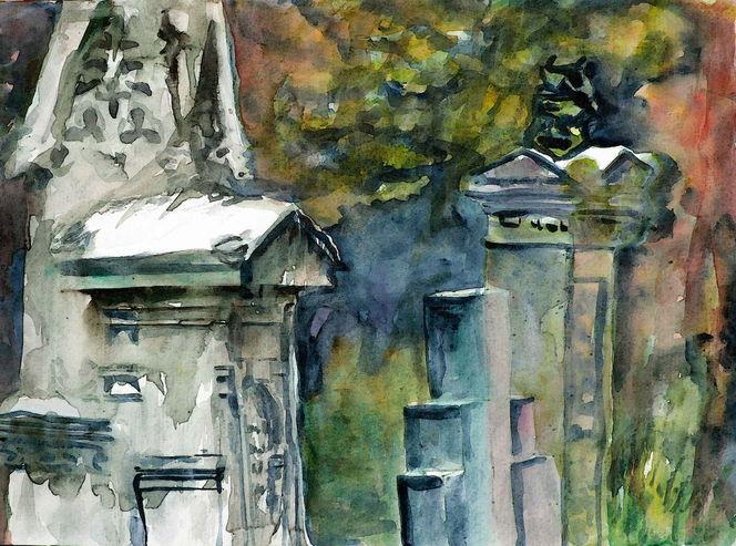 Grabsteine, Friedhof, Aquarellmalerei, Aquarell