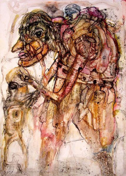 Ölmalerei, Tusche, Menschen, Zeichnungen,
