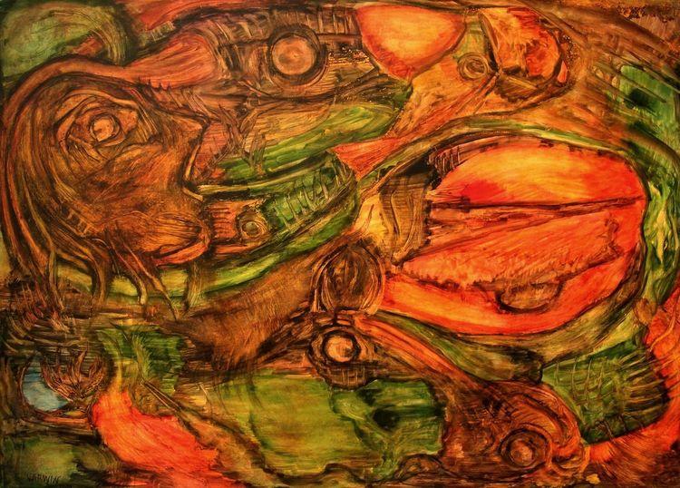 Landschaft, Fluss, Hellblau, Morphos, Feurig, Malerei