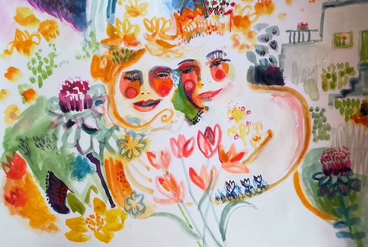 Garten, Blumen, Paar, Aquarell