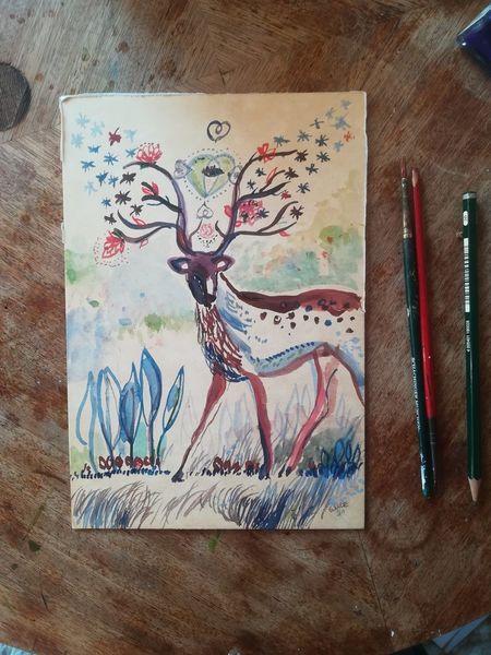 Wald, Blumen, Mystik, Hirsch, Aquarell