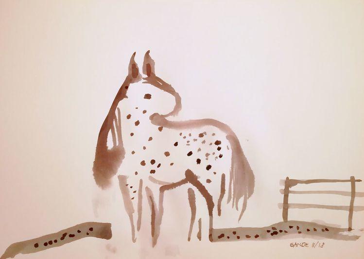 Tupftechnik, Weide, Pony, Reiten, Pferde, Mädchen