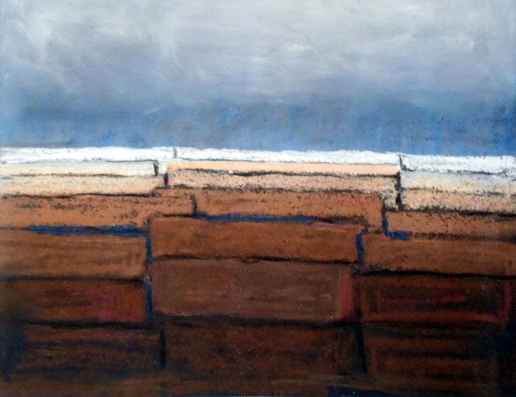 Landschaft, Braun, Blau, Abstrakt, Malerei