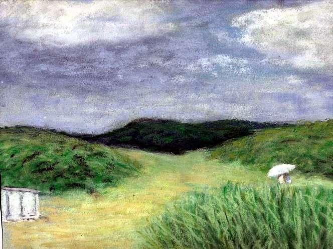 Menschen, Sommer, Meer, Dünen, Malerei