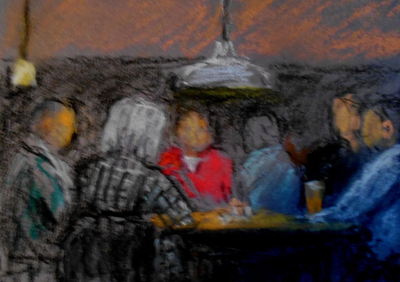 Balkontisch Rund Cm Malerei | Am Runden Tisch Menschen Tisch Rund Malerei Von Hans Hehl Bei