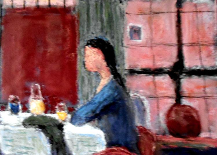 Gaststätte, Frau, Fenster, Malerei