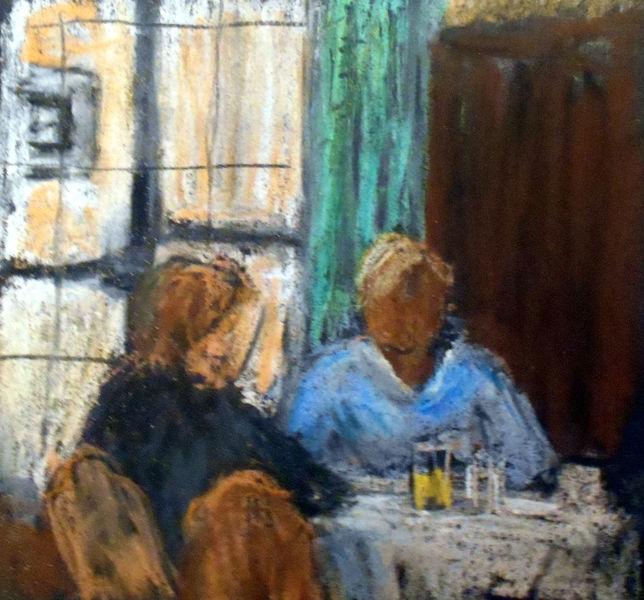 Gasthaus, Skizze, Paar, Malerei