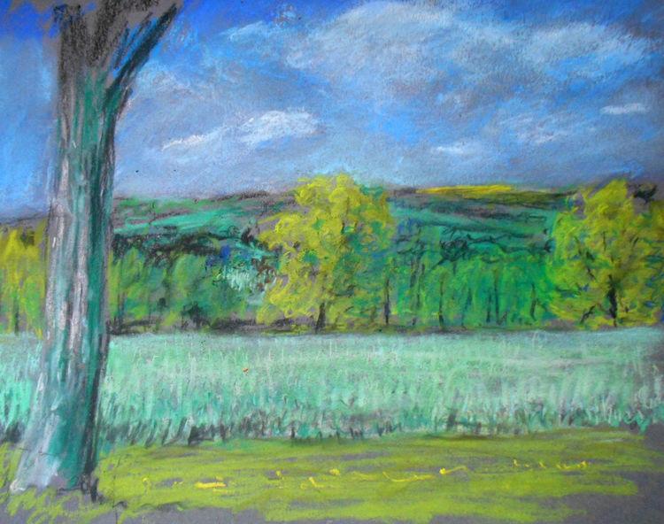 Frühling, Donau, Malerei, Landschaft