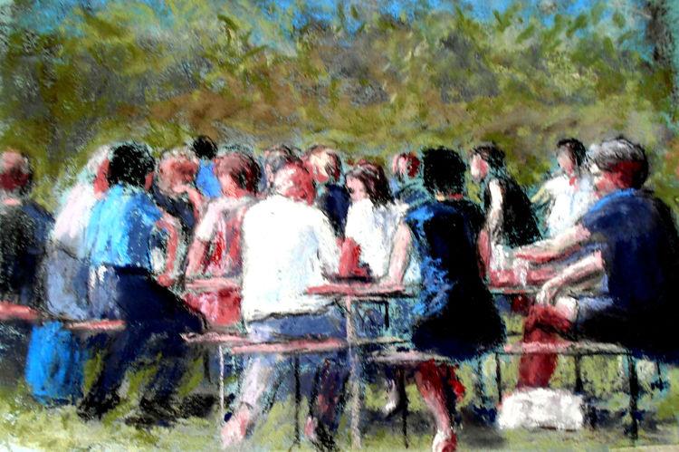 Menschen, Biergarten, Natur, Landschaft, Malerei