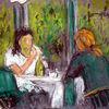 Frau, Cafe, Wintergarten, Malerei