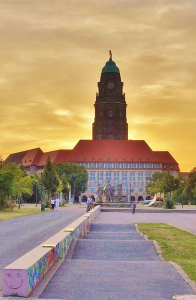 Himmel, Rathaus, Skateboard, Fotografie, Dresden