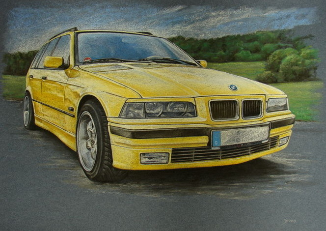 bmw e36 auto bmw gelb von diana f rch bei kunstnet. Black Bedroom Furniture Sets. Home Design Ideas