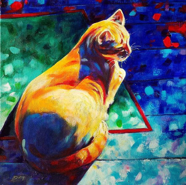 Acrylmalerei, Katze, Sonne, Malerei