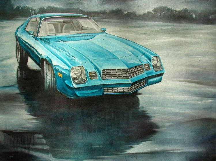 Spiegelung, Gemälde, Grün, Auto, Chevy, Regen