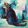 Türkis, Katze, Abstrakt, Malerei