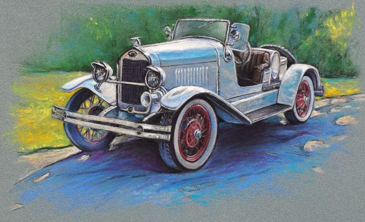 Oldtimer, Ford, Vintage car, Cabrio, Auto, Malerei