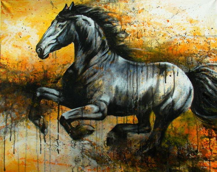 Summersteed, Pferde, Friese, Frisian, Malerei, Tiere