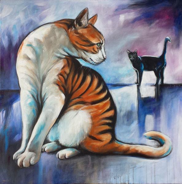 Katze, Acrylmalerei, Tierportrait, Malerei, Tiere