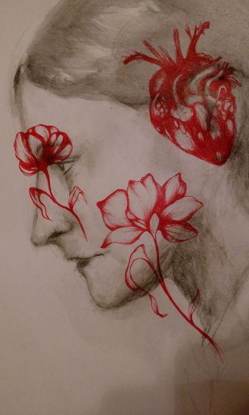 Zeichnungen, Augen, Blumen,