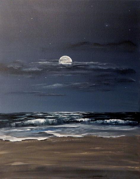 Brandung, Sand, Stimmung, Nacht, Mond, Acrylmalerei