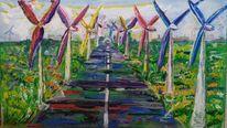 Straße, Blumen, Windmühle, Windräder