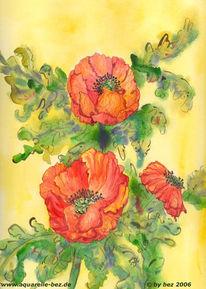 Blumen, Grafik, Aquarellmalerei, Mohn