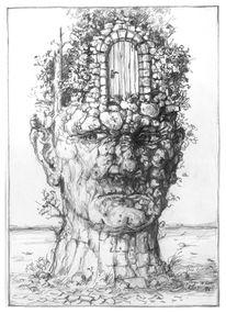Zeichnung, Kopfwelten, Tür, Skurril