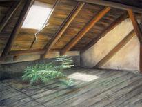 Pastellmalerei, Fenster, Dachgeschoss, Szenerie