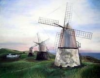 Pastellmalerei, Malerei, Mühle, Himmel