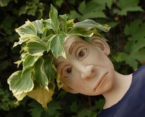 Gartenfigur, Lustige gartenkeramik, Pflanzkopf mit gesicht, Keramik
