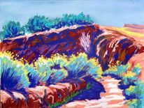 New mexico, Pastellmalerei, Plein air, Landschaft