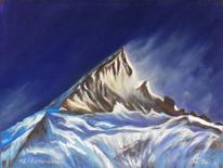 Karakorum, Pastellmalerei, Gasherbrum, Gebirgslandschaft