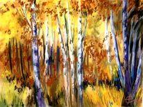 Pastellmalerei, Landschaftsmalerei, Landschaft herbstfarben, Malerei
