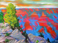Pastellmalerei, Grand canyon, Colorado river, Landschaft