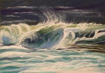 Strandbrandung, Welle, Nordsee, Pastellmalerei