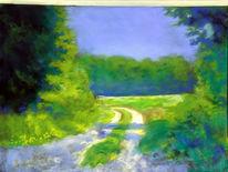 Pastellmalerei, Landschaftsmalerei, Waldweg, Sommer